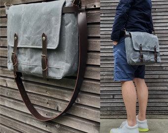 Grey messenger bag in waxed canvas / Musette  with adjustable shoulderstrap UNISEX