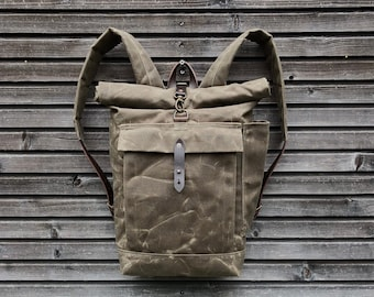 School backpack in waxed canvas / waterproof backpack with padded shoulder straps and water bottle pocket, unisex collection