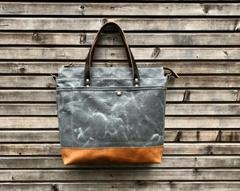 Waxed canvas tote bag - carry all - diaper bag with padded laptop compartment  COLLECTION UNISEX