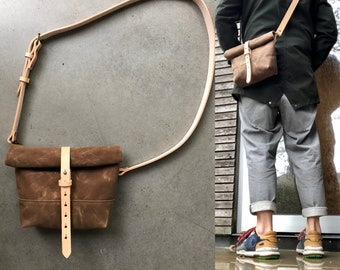Tan waxed canvas satchel / messenger bag / canvas day bag