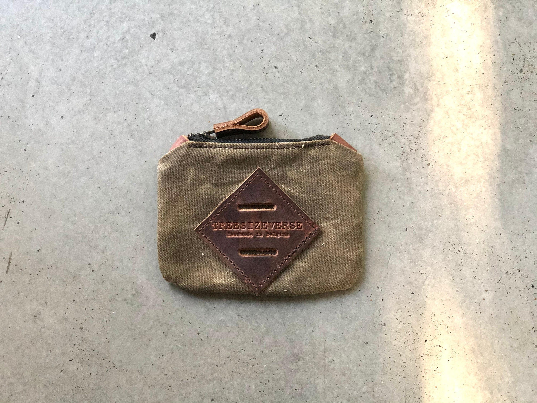 Brown Waxed Canvas Coin Purse