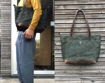 Large waxed canvas tote bag  with  leather handles and bottom / canvas market bag / laptop bag COLLECTION UNISEX