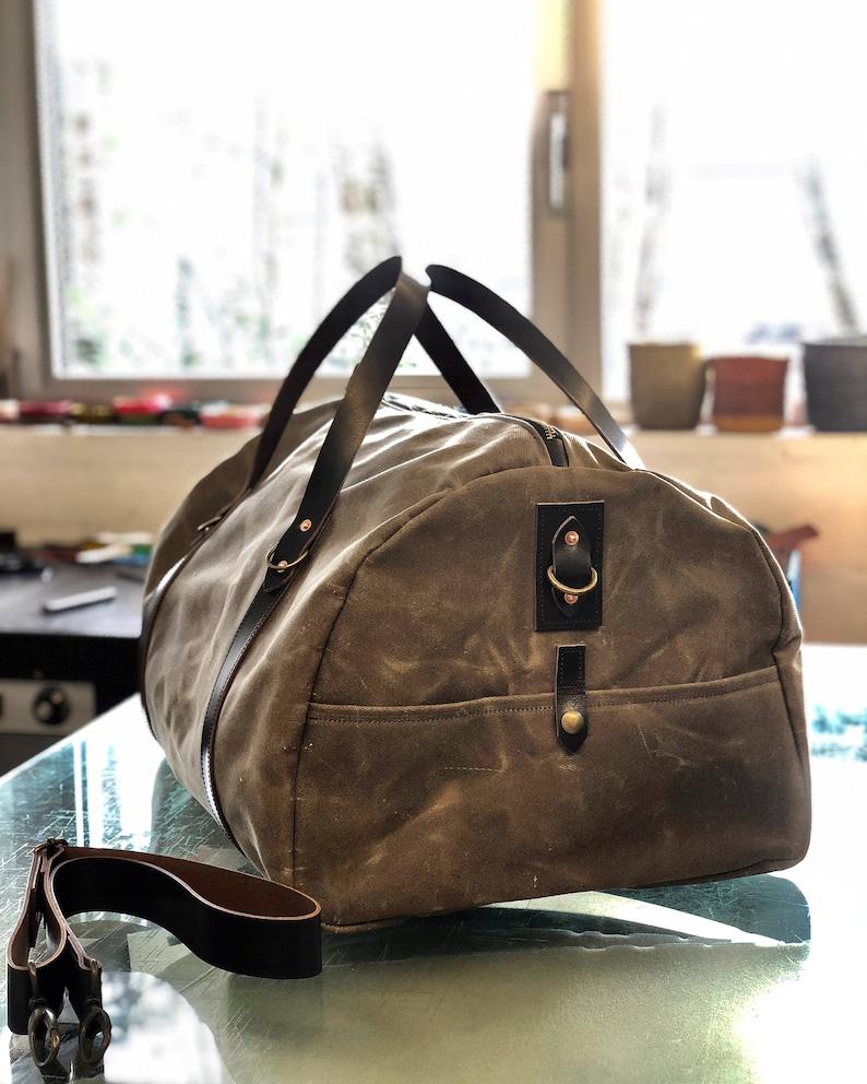 7ee4b75c1e Waxed canvas carry on luggage   weekender   duffle bag   gym bag