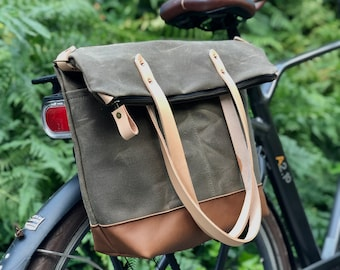 Waterproof bicycle pannier tote bag in waxed canvas with zipper closure and cross body strap  bike accessories
