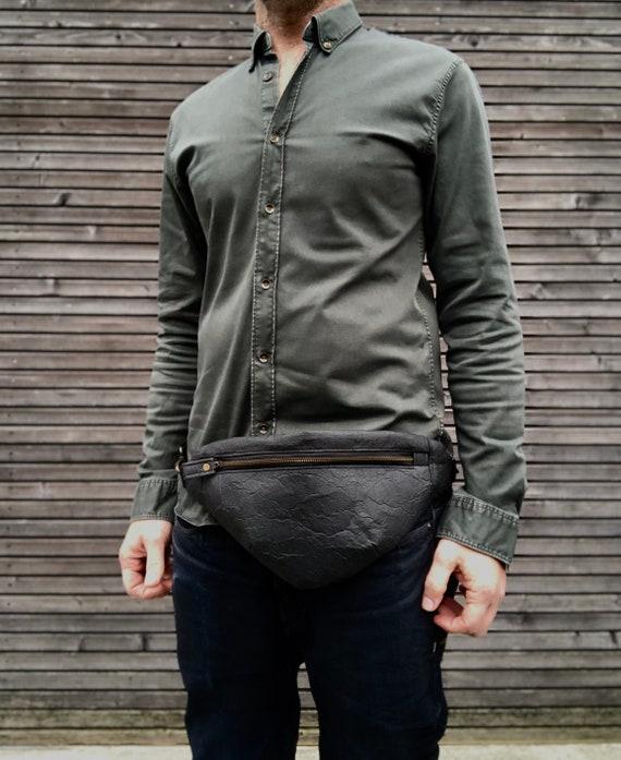Pinatex fanny pack  vegan belt bag  small messenger bag kangaroo bag with cross chest strap
