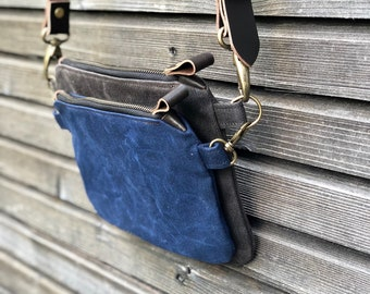 Waxed canvas day bag / small messenger bag/ kangaroo bag with waxed leather shoulder strap