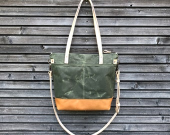Olive green waxed canvas tote bag / office bag with leather handles and shoulder strap