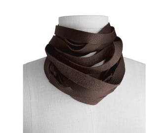Wrap leather choker, Minimalist Leather Scarf, Raw Edge, Leather Wrap Choker, Layered Necklace, Skinny Leather Scarf, Chocolate Brown scarf