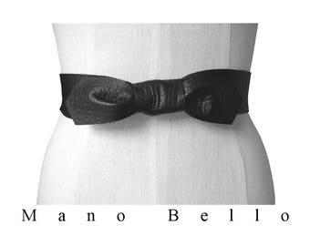Bow Belt, Basic Black Leather Belt, Leather tie belt, Leather Coat belt, Black leather, 24- 36 waist, Lena belt, Wide leather strap belt