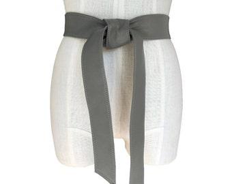 Soft Leather Belt - Gray Coat Belt - Classic belt - Grey Leather Tie Belt - Basic belt - Coat belt - Replacement belt - Belts for coats -