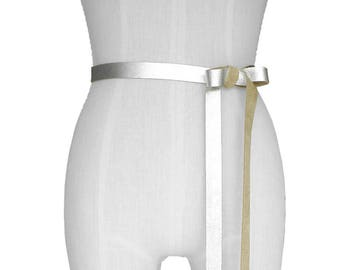 Leather ribbon belt, Silver Leather Bow Belt, Soft Leather Tie On Belt, Wedding Dress Belt, Bridesmaid Belts, Skinny Leather Belt Baby Bump