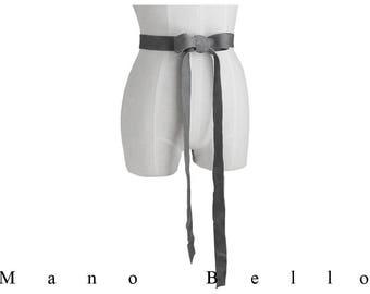 Mano Bello Leather Ribbon Sash, Soft Leather Bow, Wedding Dress Belt, Silver Gray, Seamless Basic Leather Belt, Jacket Belt, Coat Belt, Raw