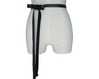 "Women Leather Ribbon Belt, Black Leather Bow, Goth belt, Wedding Dress Sash, Skaters belt, 3/4"" Seamless, Black Wedding Dress Belt, L XL XXL"