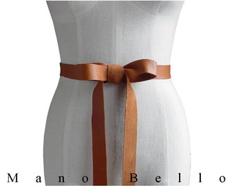 "Honey Tan Leather Ribbon Bow Belt 1 inch 1"" Leather Strap Rustic Wedding Dress Belt 32 - 40 waist, Now SEAMLESS  L, XL, XXL cowhide leather"