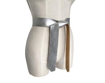 "Fashion belt - Leather tie belt - Raw edge silver leather belt -Light Coat belt - jacket belt - Shiny belt - Metallic leather belt - 1 3/4"""