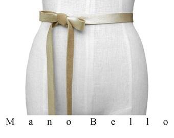 Wedding Dress Belt Gold Bridesmaid Belts Skinny Leather Belt Leather Ribbon Belt Leather Bow Belt Leather Tie On Belt Leather Strap Belt Raw