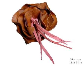 Boho Flower Brooch, Valentines Day gift, Boutonniere, Leather Flower Brooch, Mano Bello Flower Leather Fringe, Tan & Peach, Bespoke jewelry