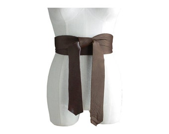 Brown Leather Obi, Tie on belt, Wide Leather Belt, 2 Inch Leather Obi Belt, Double Wrap, Black, Chocolate Brown, Large Bow Belt 2 in 1