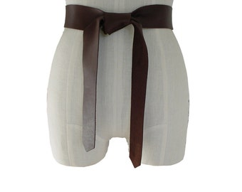Soft Leather Tie Belt in Brown - Everyday belt - Fashion belt for Women - Coat belt replacement - Raw Edge Goatskin or Seamless Cowhide