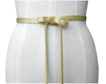 Skinny Wedding Belt Leather Ribbon Belt Leather Bow Belt Tie On Belt Dress Belt Bridesmaid Belts Skinny Leather Belt Gold Leather Strap Belt
