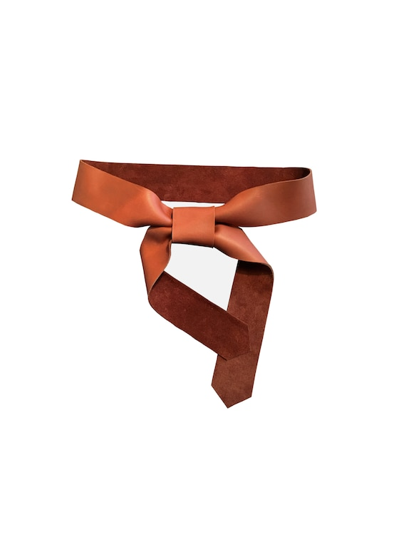 Soft Leather Tie Belt in Brown Everyday belt Fashion belt for Women Coat belt replacement Raw Edge Goatskin or Seamless Cowhide