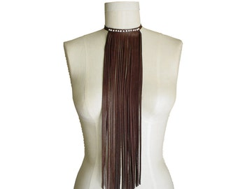 Fringe Bib Necklace - Long Leather Fringe Choker - Beaded Choker Necklace - Boho Necklace - Brown & White - Hippie choker - Tribal Necklace