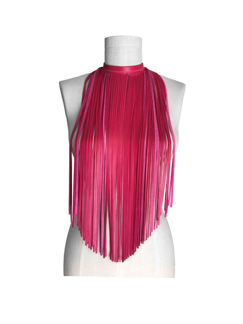 Fuchsia lambskin Fringe Choker Pink Bib Necklace leather chokers for women Leather Fringe Necklace goes with Lilly Pulitzer colors