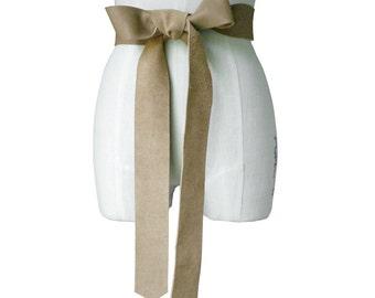 Women leather belt - Raw Edge - 2 Inch Leather Obi Belt - Double Wrap Belt - Mushroom Taupe - Dark Beige Large Bow Belt 2 in 1, in stock