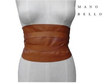 Wide Leather Obi Belt, Honey Tan,  Underbust Corset Belt,  Rustic leather Corset Belt,  26 - 30 waist  Small - Medium - Large,  custom made