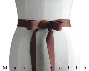 Goatskin Leather Bow Belt Leather Strap Natural Tobacco Brown Leather Ribbon Belt  Rustic Wedding Dress Sash Skaters Belt Shoestring belt