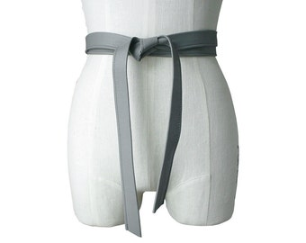 Gray Leather Strap Belt, Classic belt, Lambskin belt  Minimalist, Basic Leather Tie Belt, Winter Coat Belt, Gray Wedding Sash, custom order