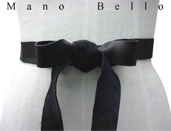 Soft Leather Bow Belt Wedding dress sash Black Leather | Etsy
