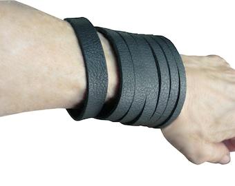 Goth Bracelet - Soft Black Leather Cuff - Dark Fashion - Wide Leather Strap Bracelet -  Leather Bangle Bracelet - tattoo cover men or women