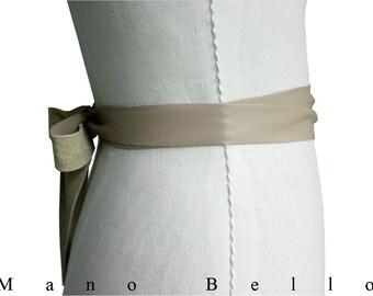 Double Wrap Leather Ribbon Sash Soft Leather Bow Wedding Dress Belt Taupe Beige Leather Ribbon Bow Belt Xsmall small  medium large, Xlarge