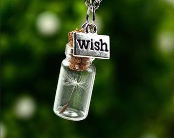 Wishing Jar, Dandelion Seed Necklace - Make A Wish Pendant