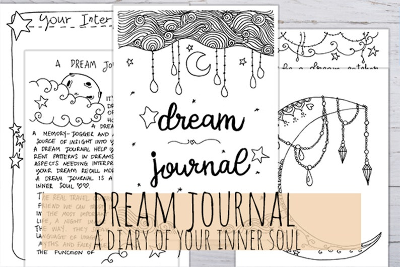 Dream Journal Printable Dream Journal log 8 handmade pages image 0