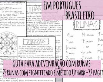Livro das Sombras: guia para adivinhação com runas, 25 runas com significado e método de leitura de Uthark 32 páginas para impressão