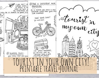 Tourist in my own city: a printable travel journal. 3 sizes in .pdf