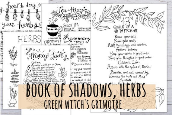 photo about Printable Book of Shadows referred to as E book of Shadows Environmentally friendly Witchs Grimoire, Herbs for magical rituals, 11 web pages Printable Witch Magazine hand drawn within 3 dimensions