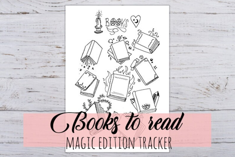 Books to Read, magic witch edition, tracker for Bullet Journal printable  hand drawn 2 sizes in jpg & pdf
