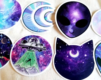 Space Alien Stickers - a set of 8 - Free Shipping