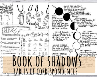 Book of Shadows Tables of correspondences for magical rituals, 16 pages Printable Witch Journal hand drawn in 3 sizes