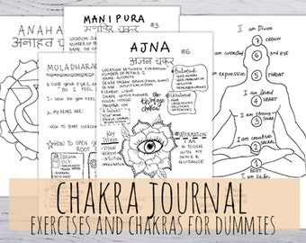 Chakra Journal, Printable! 7 Chakra Journal for dummies, 22 printables handmade pages in 3 sizes in .jpg & .pdf