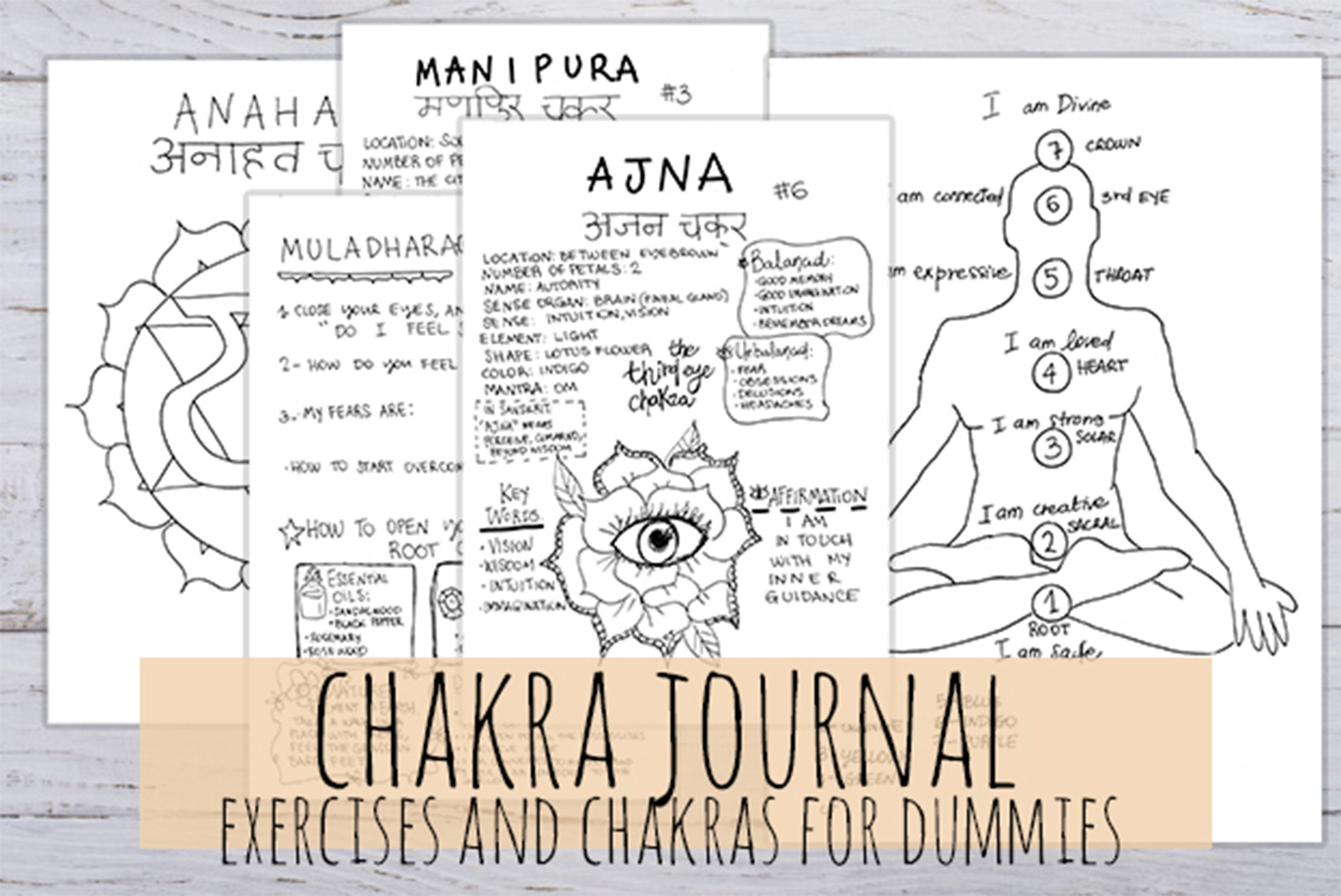 Chakra Journal, Printable! 7 Chakra Journal for dummies, 22 printables  handmade pages in 3 sizes in  jpg &  pdf