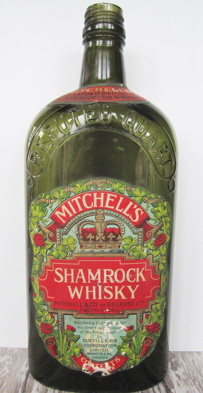 Antique Shamrock WHISKY Bottle Mitchell's Belfast Ireland Montreal Canada  Prohibition Bootleggers Distillery Whiskey Roses Lover Bar Pub