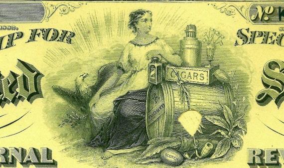 Antique Original US INTERNAL REVENUE LIQUOR License Canceled Engraved 1878