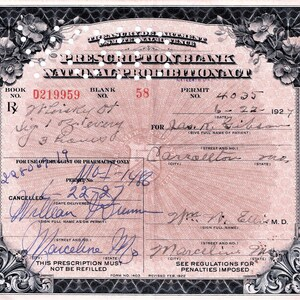 79 1929 Carls Whiskey Prohibition Prescription Vintage Medical Mad Men Cave Speakeasy Pharmacy Bar Watson MN Ortonville Minnesota
