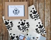DIY Stencil Kit - Folk Stencil Tea Towel Stencil Kit. Create Your Own Tea Towel. DIY Craft Kit.