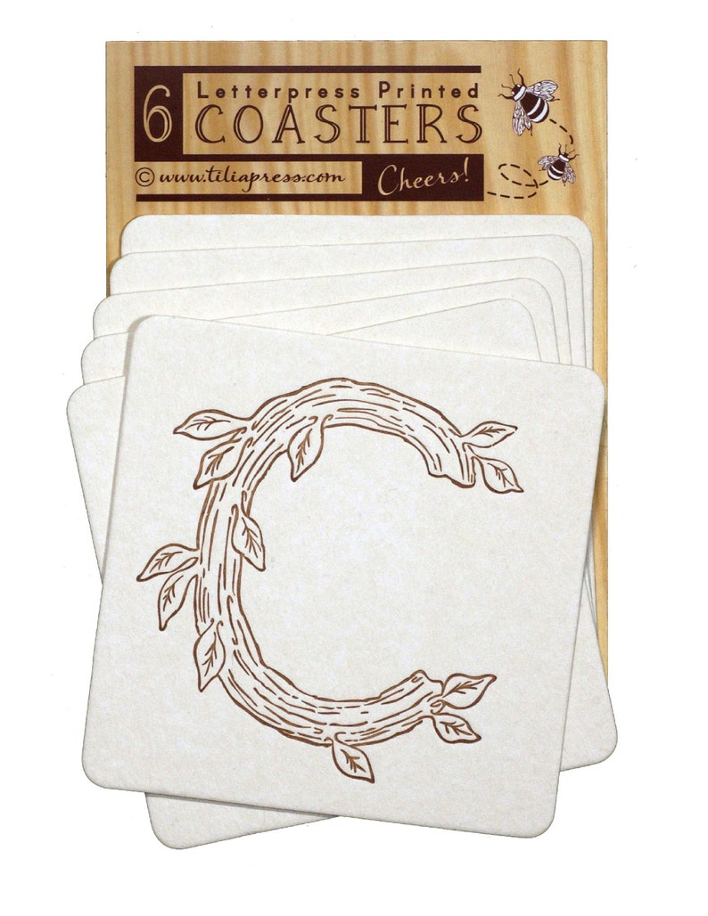 Monogram Letter C Letterpress Woodgrain Coaster