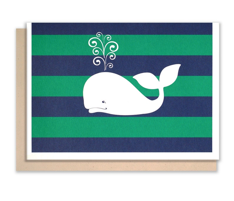 Whale Notecards Preppy Nautical stationery image 0